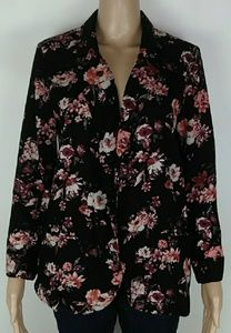 L.A hearts open floral red  black cardigan size m